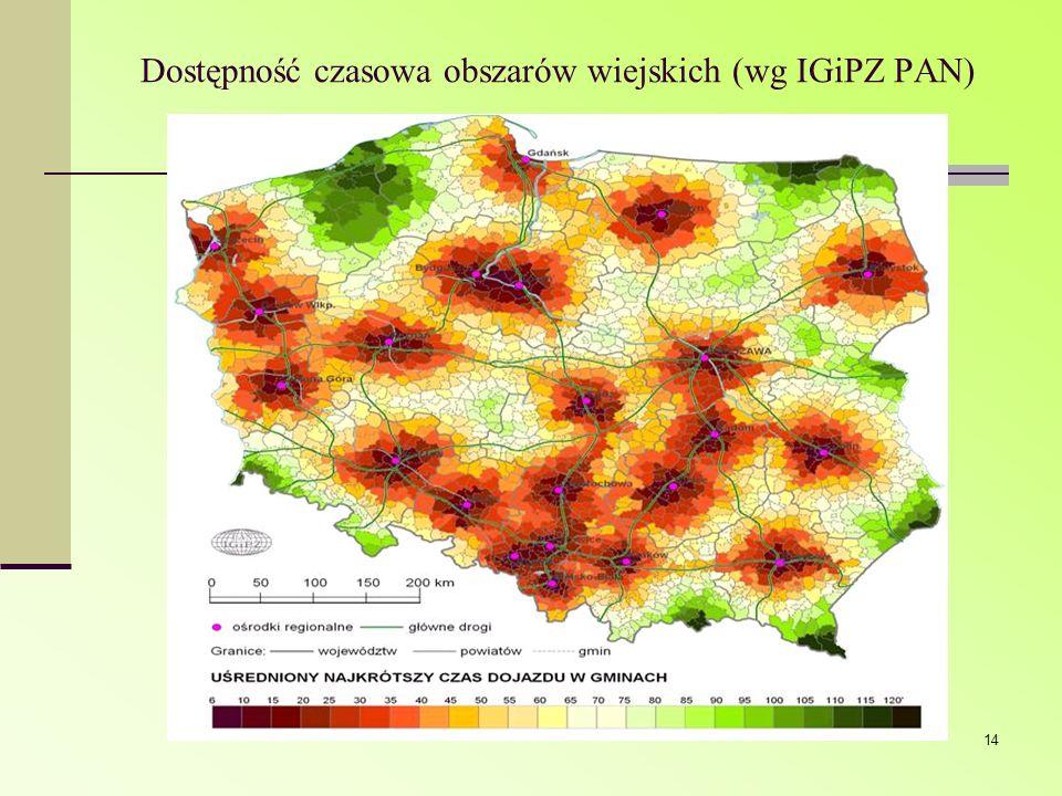 14 Dostępność czasowa obszarów wiejskich (wg IGiPZ PAN)