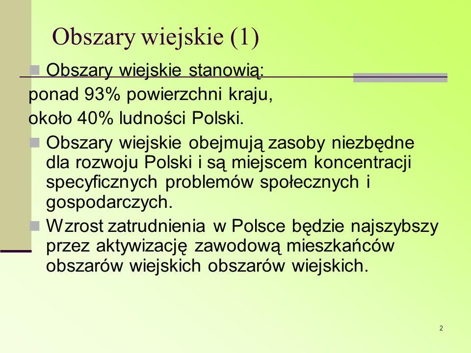 2 Obszary wiejskie (1) Obszary wiejskie stanowią: ponad 93% powierzchni kraju, około 40% ludności Polski. Obszary wiejskie obejmują zasoby niezbędne d