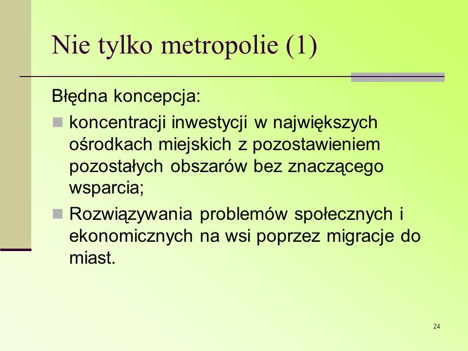 24 Nie tylko metropolie (1) Błędna koncepcja: koncentracji inwestycji w największych ośrodkach miejskich z pozostawieniem pozostałych obszarów bez zna
