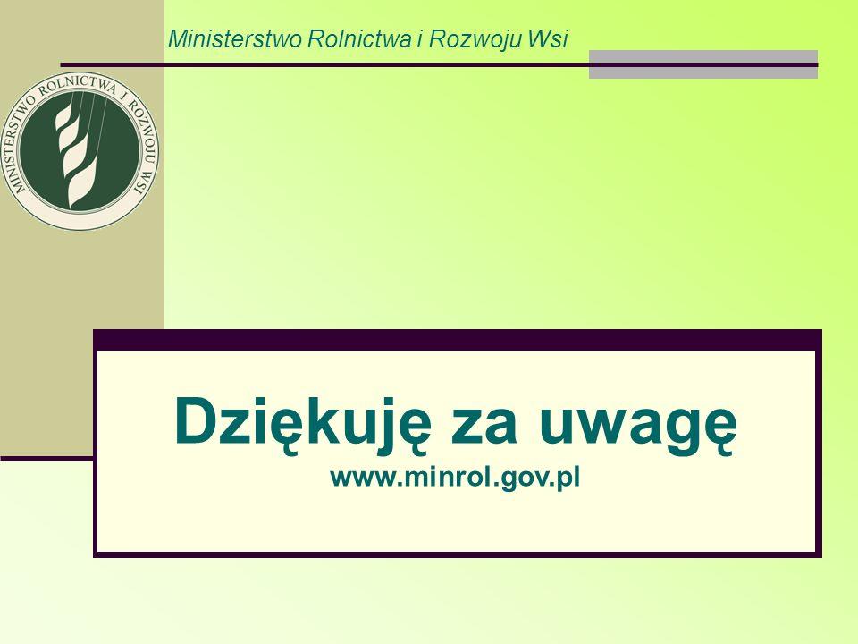 Ministerstwo Rolnictwa i Rozwoju Wsi Dziękuję za uwagę www.minrol.gov.pl