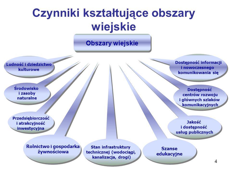 4 Środowisko i zasoby naturalne Jakość i dostępność usług publicznych Przedsiębiorczość i atrakcyjność inwestycyjna Stan infrastruktury technicznej (w