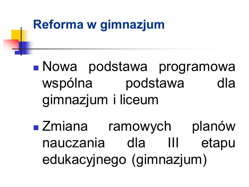 Nowa podstawa programowa wspólna podstawa dla gimnazjum i liceum Zmiana ramowych planów nauczania dla III etapu edukacyjnego (gimnazjum) Reforma w gimnazjum