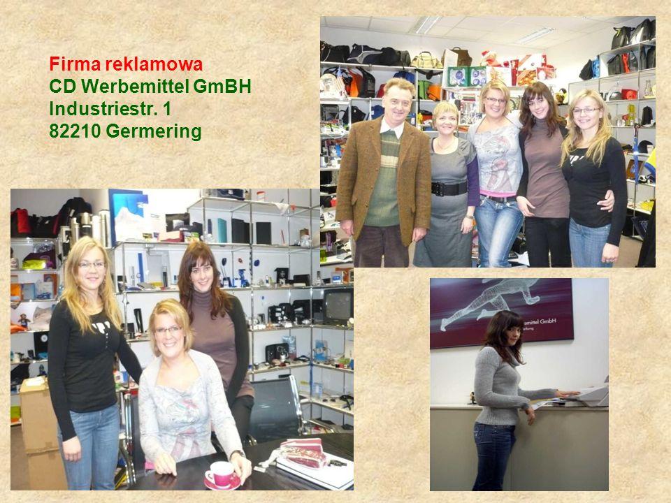 Firma reklamowa CD Werbemittel GmBH Industriestr. 1 82210 Germering