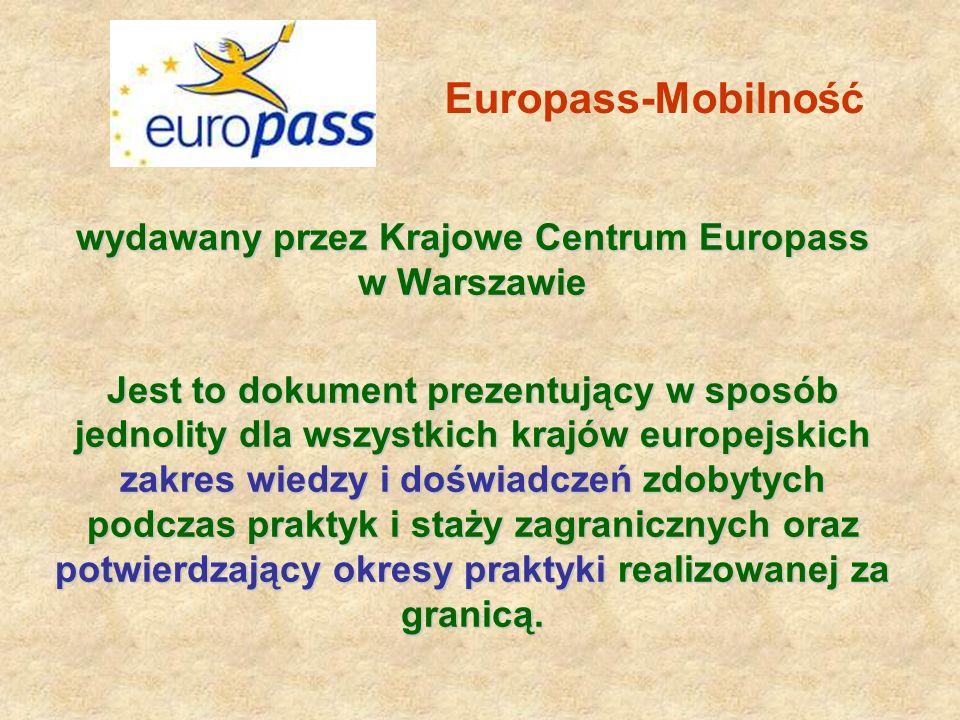 wydawany przez Krajowe Centrum Europass w Warszawie Jest to dokument prezentujący w sposób jednolity dla wszystkich krajów europejskich zakres wiedzy i doświadczeń zdobytych podczas praktyk i staży zagranicznych oraz potwierdzający okresy praktyki realizowanej za granicą.