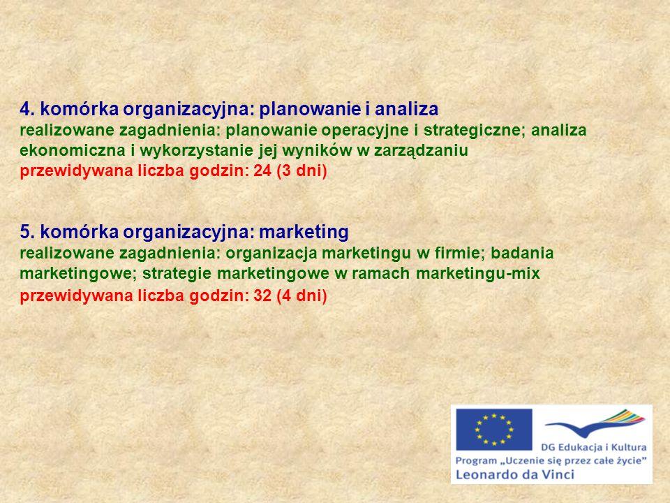 4. komórka organizacyjna: planowanie i analiza realizowane zagadnienia: planowanie operacyjne i strategiczne; analiza ekonomiczna i wykorzystanie jej