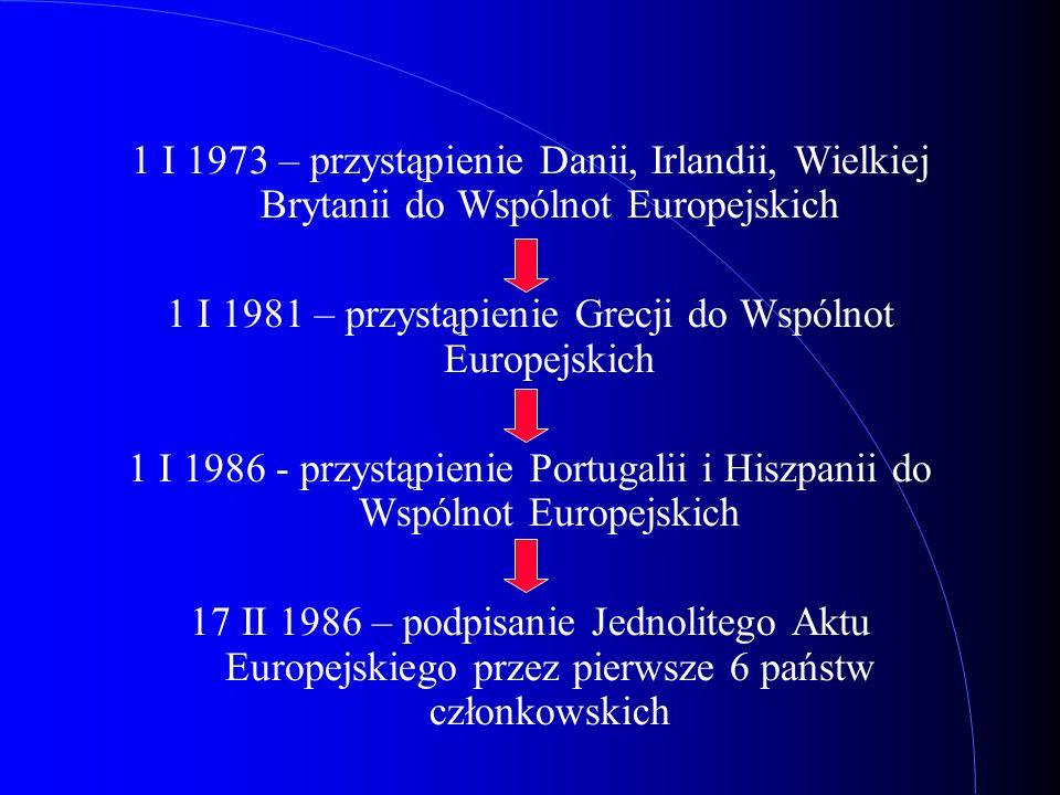 1 I 1973 – przystąpienie Danii, Irlandii, Wielkiej Brytanii do Wspólnot Europejskich 1 I 1981 – przystąpienie Grecji do Wspólnot Europejskich 1 I 1986
