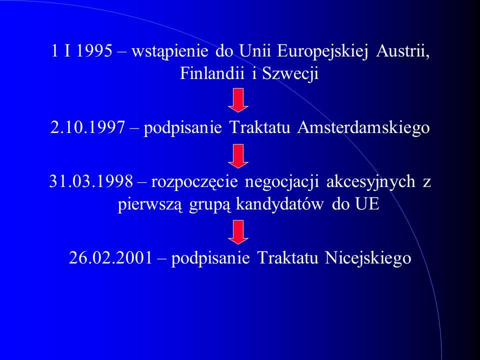 1 I 1995 – wstąpienie do Unii Europejskiej Austrii, Finlandii i Szwecji 2.10.1997 – podpisanie Traktatu Amsterdamskiego 31.03.1998 – rozpoczęcie negoc