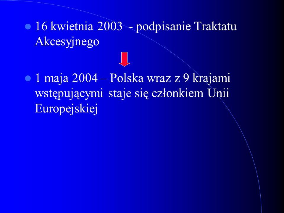 16 kwietnia 2003 - podpisanie Traktatu Akcesyjnego 1 maja 2004 – Polska wraz z 9 krajami wstępującymi staje się członkiem Unii Europejskiej