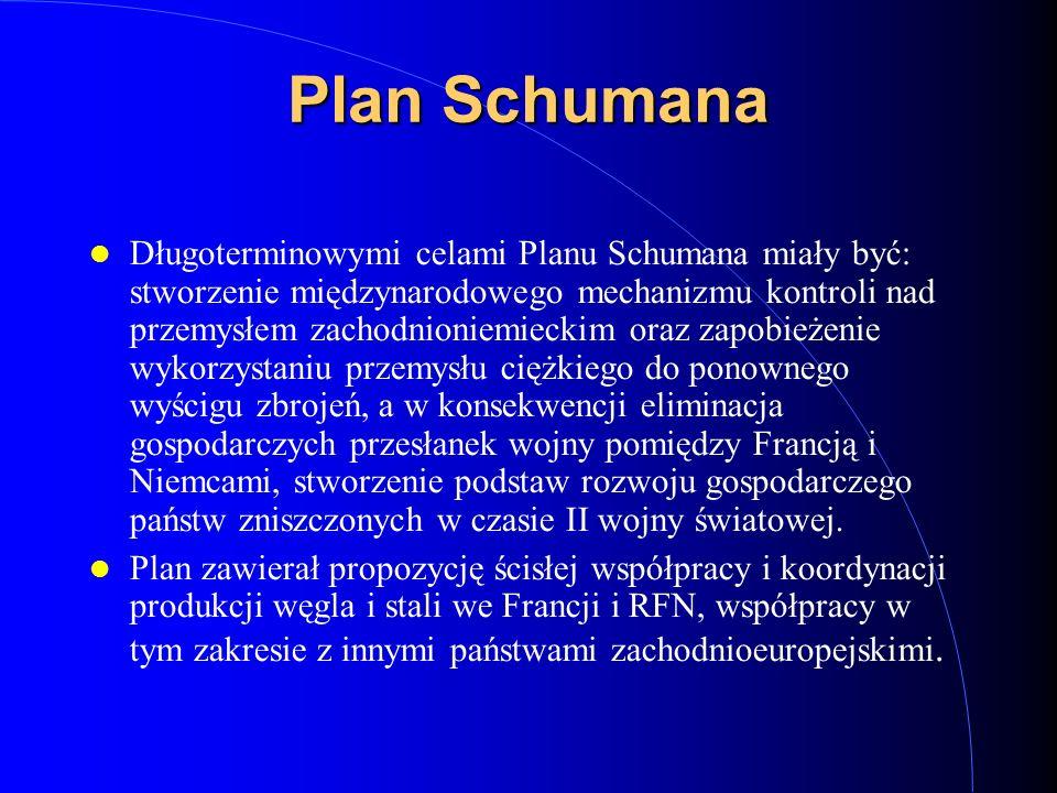 Plan Schumana Długoterminowymi celami Planu Schumana miały być: stworzenie międzynarodowego mechanizmu kontroli nad przemysłem zachodnioniemieckim ora