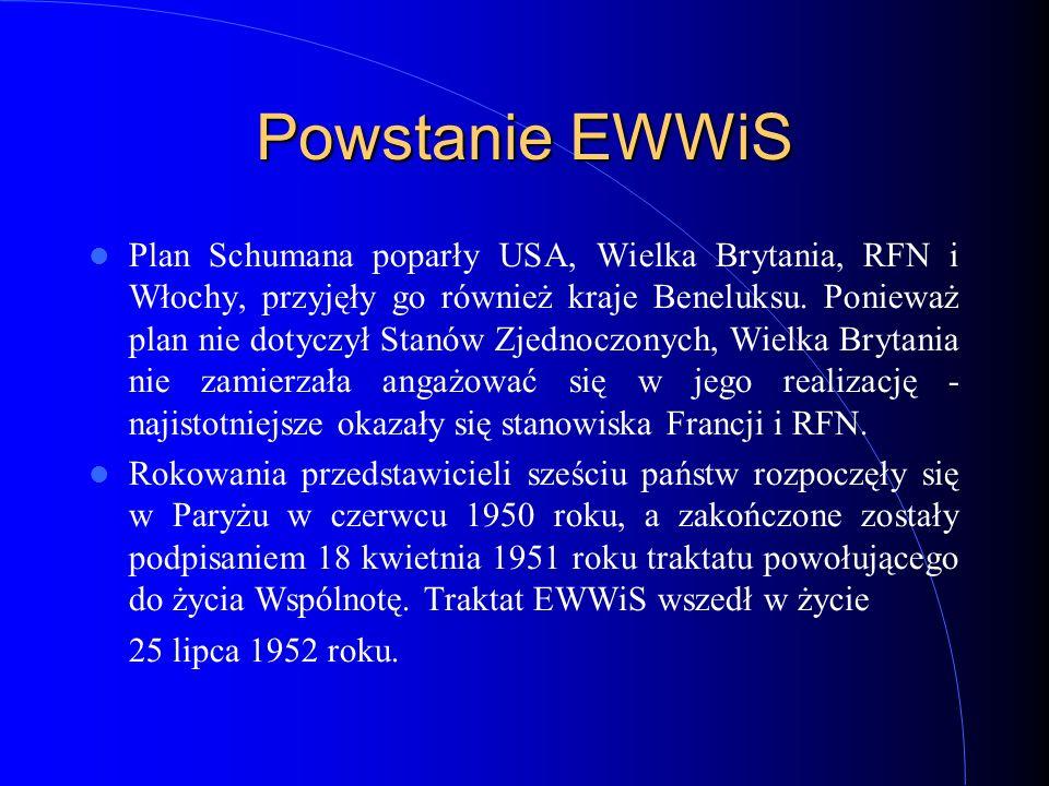 Powstanie EWWiS Plan Schumana poparły USA, Wielka Brytania, RFN i Włochy, przyjęły go również kraje Beneluksu. Ponieważ plan nie dotyczył Stanów Zjedn