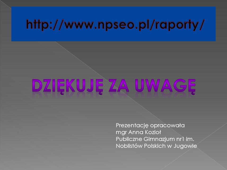 Prezentację opracowała mgr Anna Kozioł Publiczne Gimnazjum nr1 im. Noblistów Polskich w Jugowie