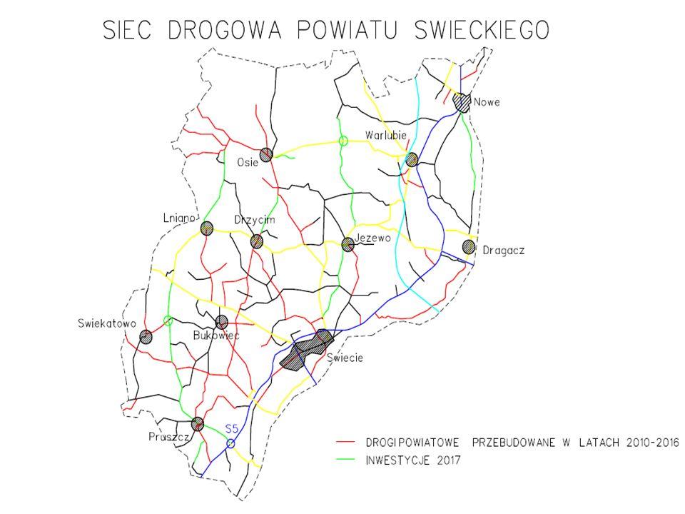 Inwestycje 2017 Długość przebudowanych dróg powiatowych: 73,286 km Wartość inwestycji: 28,0 mln zł 2014-2020