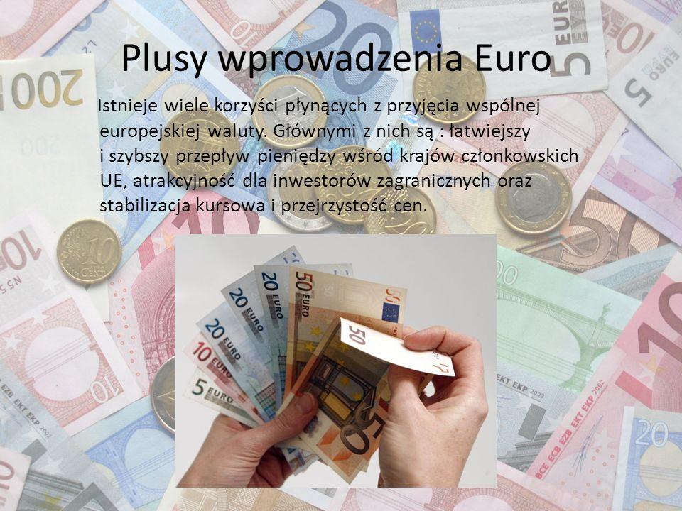 Plusy wprowadzenia Euro Istnieje wiele korzyści płynących z przyjęcia wspólnej europejskiej waluty. Głównymi z nich są : łatwiejszy i szybszy przepływ