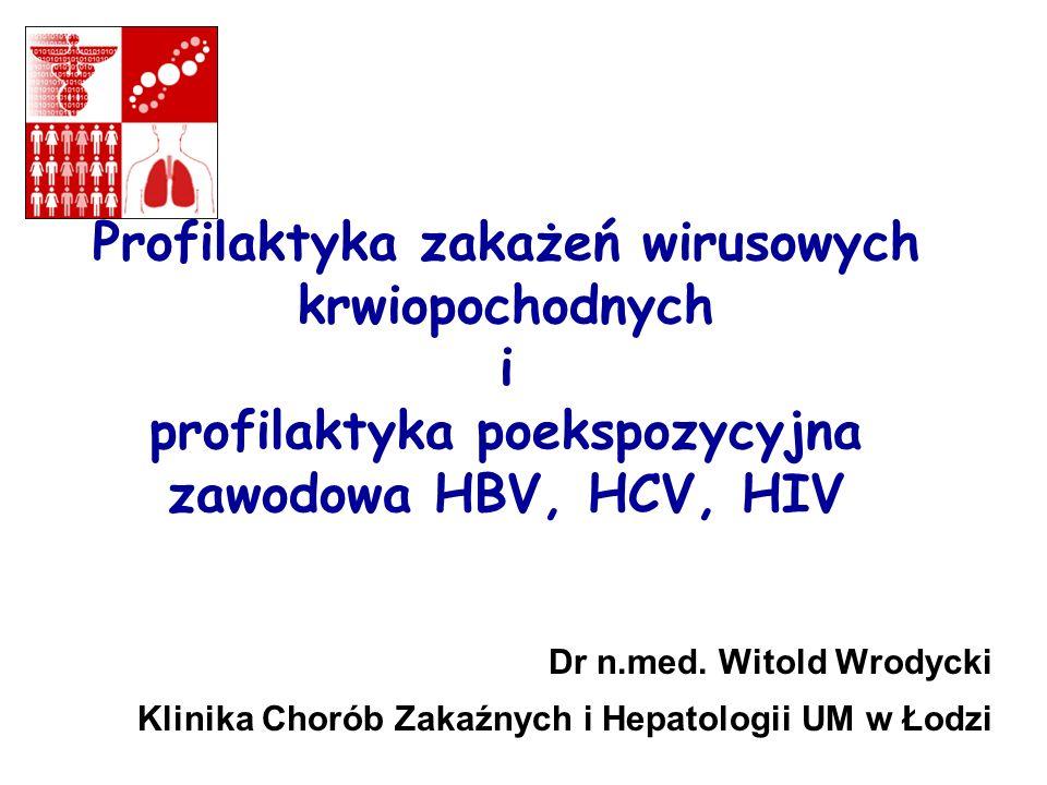 Profilaktyka zakażeń wirusowych krwiopochodnych i profilaktyka poekspozycyjna zawodowa HBV, HCV, HIV Dr n.med.