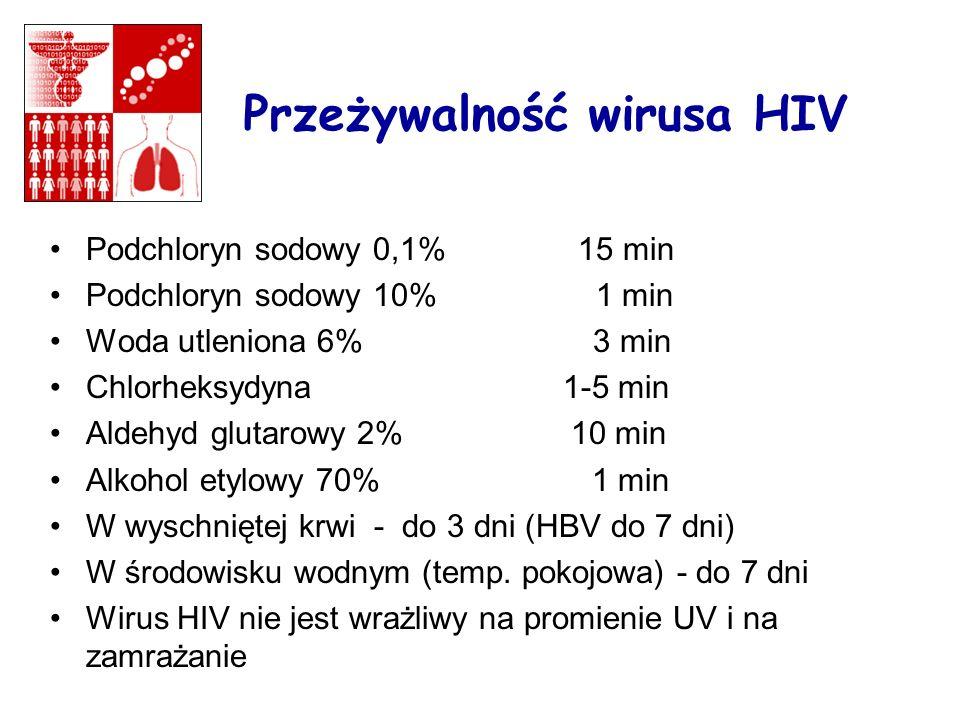 Przeżywalność wirusa HIV Podchloryn sodowy 0,1% 15 min Podchloryn sodowy 10% 1 min Woda utleniona 6% 3 min Chlorheksydyna 1-5 min Aldehyd glutarowy 2% 10 min Alkohol etylowy 70% 1 min W wyschniętej krwi - do 3 dni (HBV do 7 dni) W środowisku wodnym (temp.