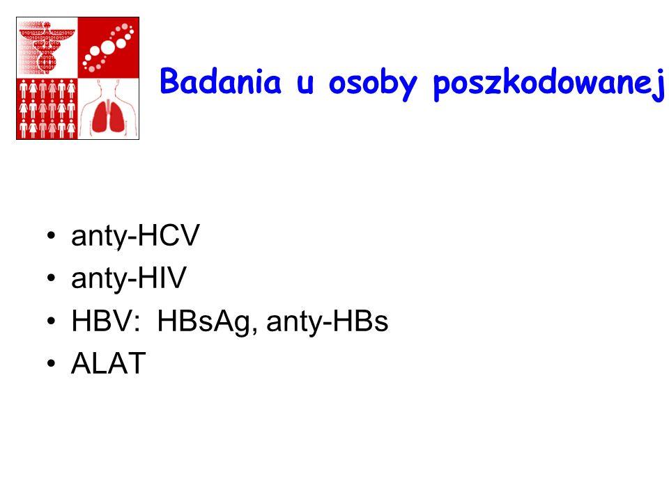 Badania u osoby poszkodowanej anty-HCV anty-HIV HBV: HBsAg, anty-HBs ALAT 1..1..........., mm