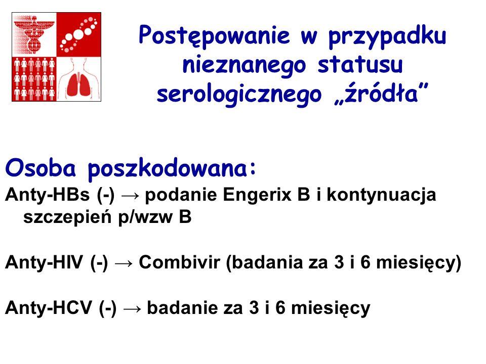Postępowanie w przypadku nieznanego statusu serologicznego źródła Osoba poszkodowana: Anty-HBs (-) podanie Engerix B i kontynuacja szczepień p/wzw B Anty-HIV (-) Combivir (badania za 3 i 6 miesięcy) Anty-HCV (-) badanie za 3 i 6 miesięcy