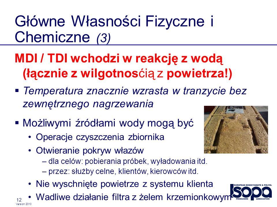 Version 2010 12 Główne Własności Fizyczne i Chemiczne (3) MDI / TDI wchodzi w reakcję z wodą (łącznie z wilgotnosćią z powietrza!) Temperatura znacznie wzrasta w tranzycie bez zewnętrznego nagrzewania Możliwymi źródłami wody mogą być Operacje czyszczenia zbiornika Otwieranie pokryw włazów – dla celów: pobierania próbek, wyładowania itd.