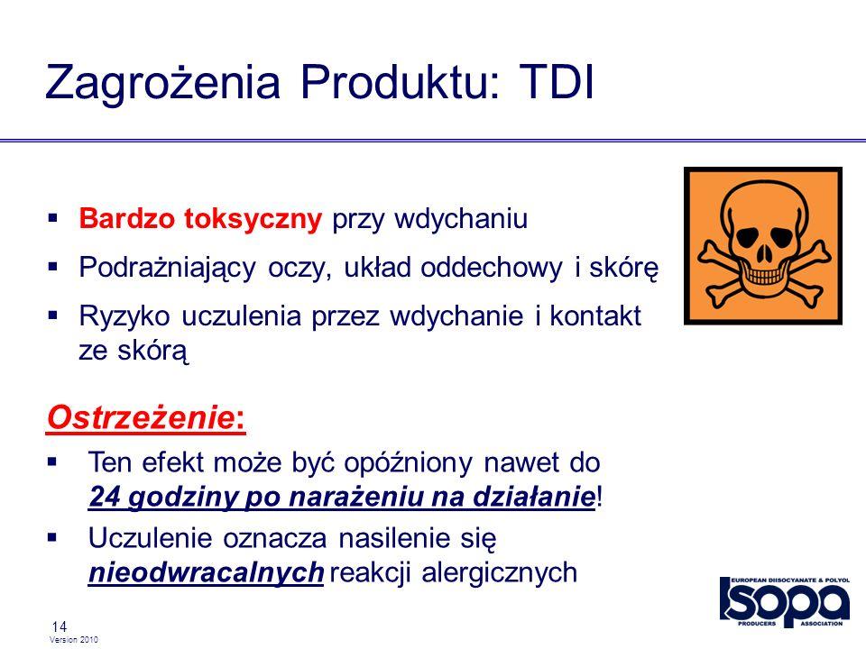Version 2010 14 Zagrożenia Produktu: TDI Bardzo toksyczny przy wdychaniu Podrażniający oczy, układ oddechowy i skórę Ryzyko uczulenia przez wdychanie i kontakt ze skórą Ostrzeżenie: Ten efekt może być opóźniony nawet do 24 godziny po narażeniu na działanie.