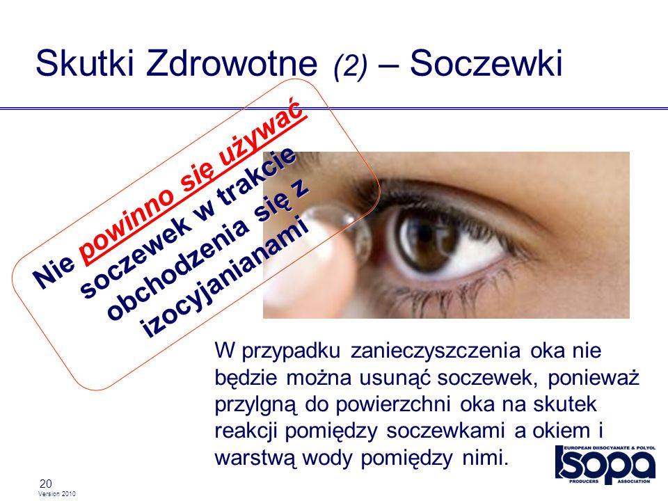 Version 2010 20 Skutki Zdrowotne (2) – Soczewki W przypadku zanieczyszczenia oka nie będzie można usunąć soczewek, ponieważ przylgną do powierzchni oka na skutek reakcji pomiędzy soczewkami a okiem i warstwą wody pomiędzy nimi.