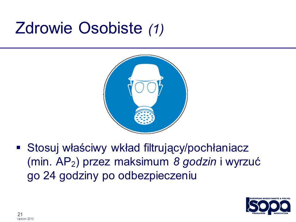 Version 2010 21 Zdrowie Osobiste (1) Stosuj właściwy wkład filtrujący/pochłaniacz (min. AP 2 ) przez maksimum 8 godzin i wyrzuć go 24 godziny po odbez