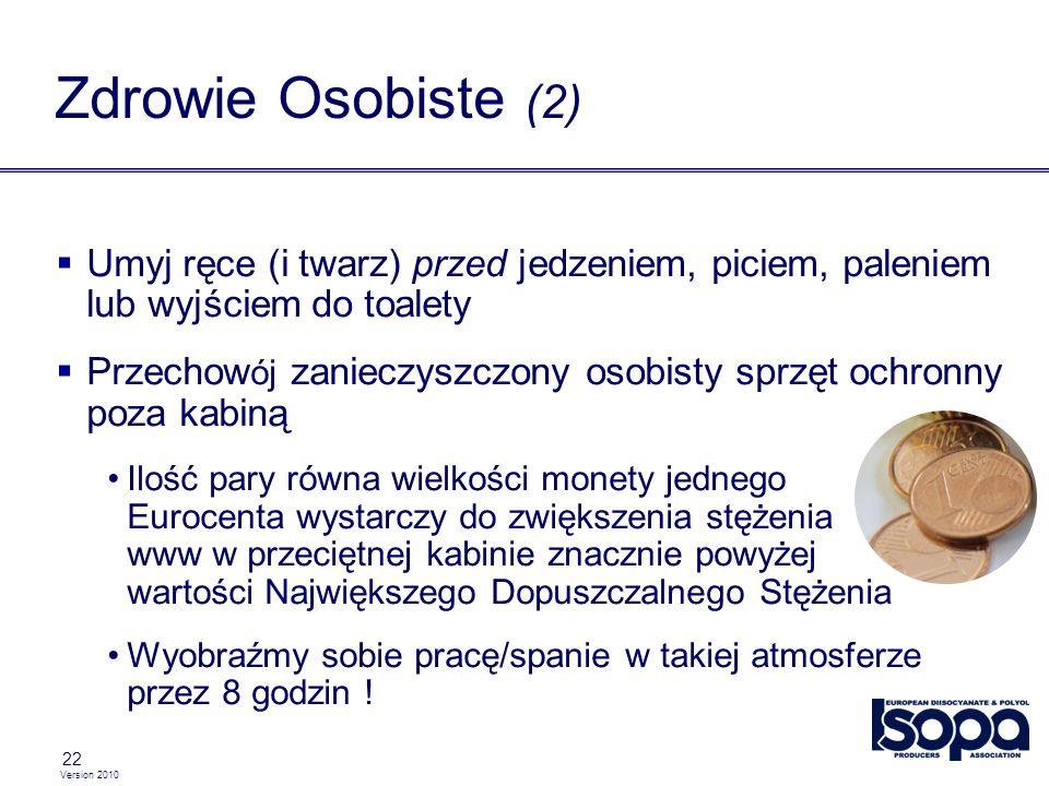 Version 2010 22 Umyj ręce (i twarz) przed jedzeniem, piciem, paleniem lub wyjściem do toalety Przechow ój zanieczyszczony osobisty sprzęt ochronny poz