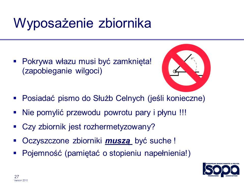 Version 2010 27 Wyposażenie zbiornika Pokrywa włazu musi być zamknięta! (zapobieganie wilgoci) Posiadać pismo do Służb Celnych (jeśli konieczne) Nie p