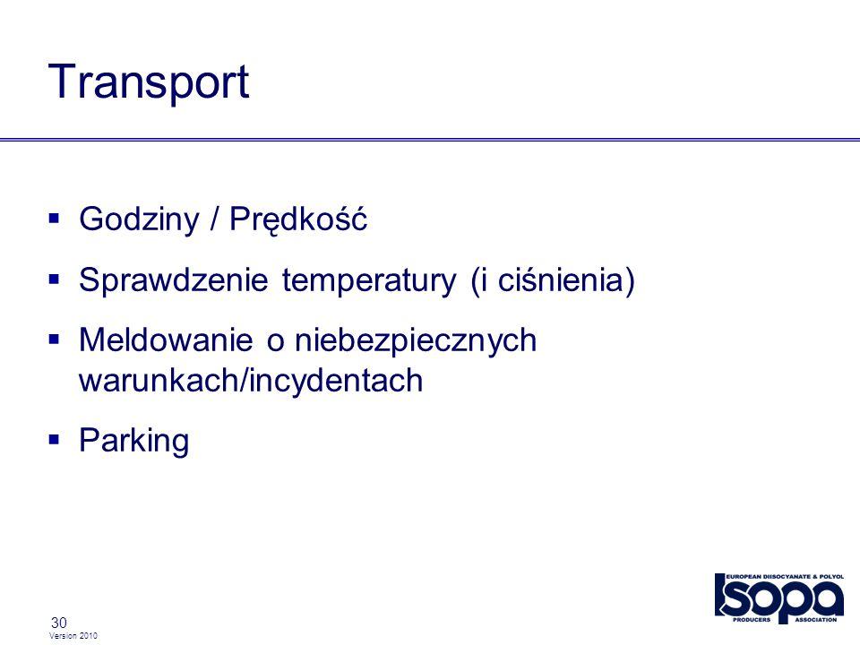 Version 2010 30 Transport Godziny / Prędkość Sprawdzenie temperatury (i ciśnienia) Meldowanie o niebezpiecznych warunkach/incydentach Parking