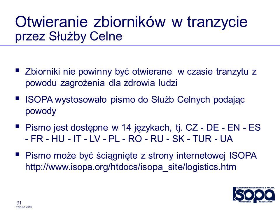 Version 2010 31 Otwieranie zbiorników w tranzycie przez Służby Celne Zbiorniki nie powinny być otwierane w czasie tranzytu z powodu zagrożenia dla zdrowia ludzi ISOPA wystosowało pismo do Służb Celnych podając powody Pismo jest dostępne w 14 językach, tj.
