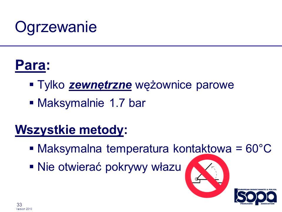 Version 2010 33 Ogrzewanie Para: Tylko zewnętrzne wężownice parowe Maksymalnie 1.7 bar Wszystkie metody: Maksymalna temperatura kontaktowa = 60°C Nie