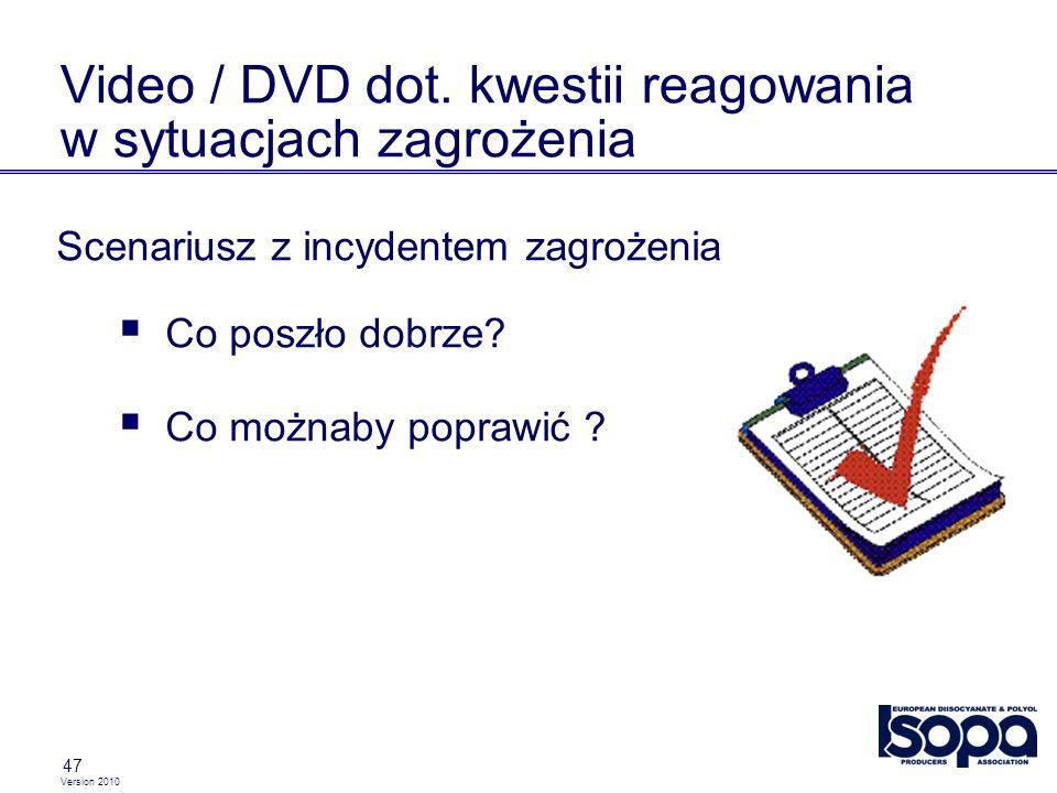 Version 2010 47 Video / DVD dot. kwestii reagowania w sytuacjach zagrożenia Scenariusz z incydentem zagrożenia Co poszło dobrze? Co możnaby poprawić ?