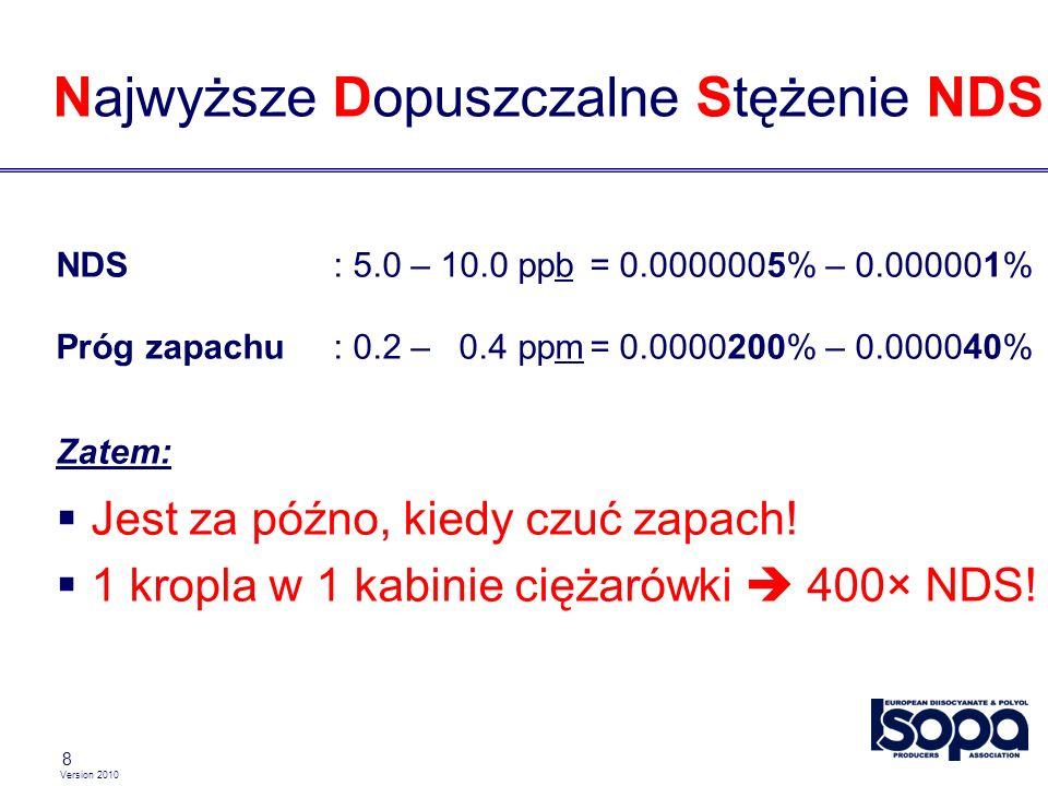 Version 2010 8 Najwyższe Dopuszczalne Stężenie NDS NDS: 5.0 – 10.0 ppb= 0.0000005% – 0.000001% Próg zapachu : 0.2 – 0.4 ppm= 0.0000200% – 0.000040% Zatem: Jest za późno, kiedy czuć zapach.