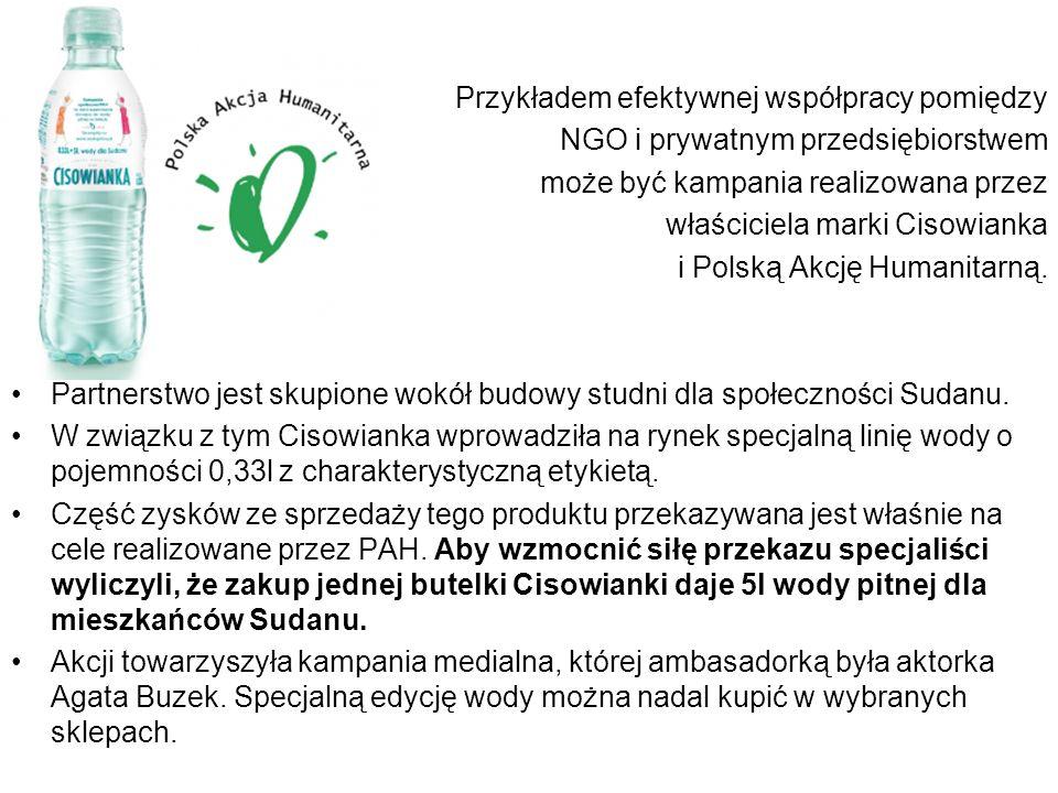 Przykładem efektywnej współpracy pomiędzy NGO i prywatnym przedsiębiorstwem może być kampania realizowana przez właściciela marki Cisowianka i Polską Akcję Humanitarną.