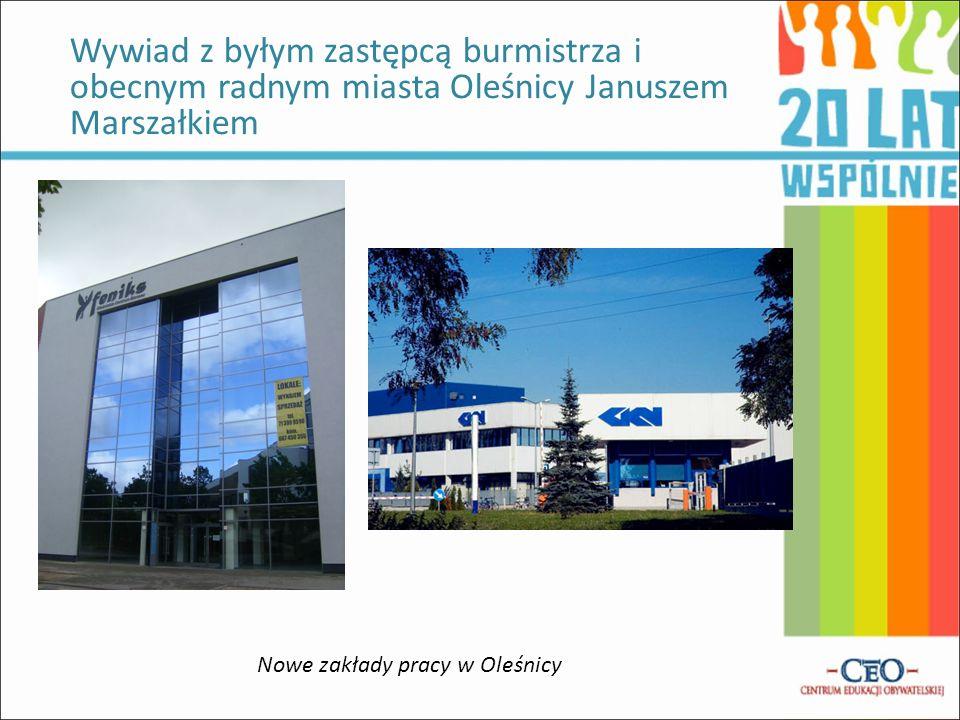 Wywiad z byłym zastępcą burmistrza i obecnym radnym miasta Oleśnicy Januszem Marszałkiem Nowe zakłady pracy w Oleśnicy