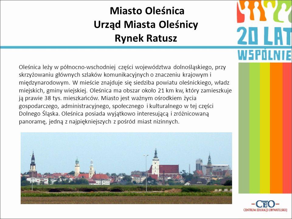 Miasto Oleśnica Urząd Miasta Oleśnicy Rynek Ratusz Oleśnica leży w północno-wschodniej części województwa dolnośląskiego, przy skrzyżowaniu głównych szlaków komunikacyjnych o znaczeniu krajowym i międzynarodowym.