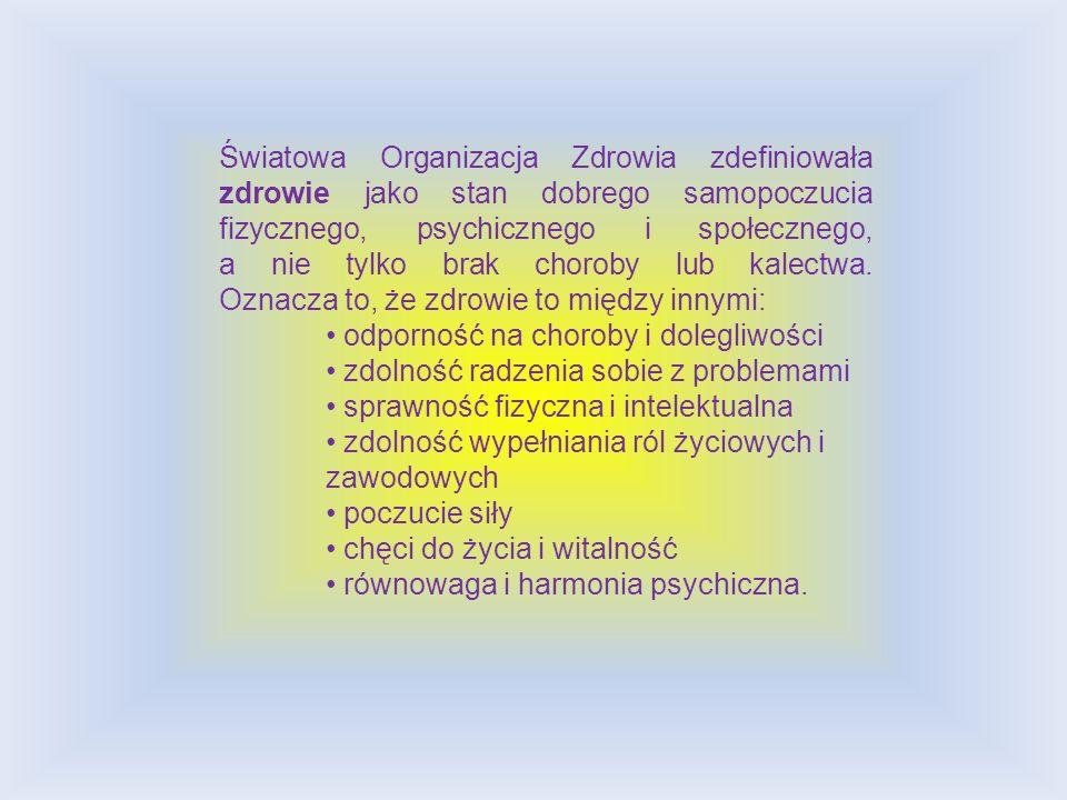 Światowa Organizacja Zdrowia zdefiniowała zdrowie jako stan dobrego samopoczucia fizycznego, psychicznego i społecznego, a nie tylko brak choroby lub