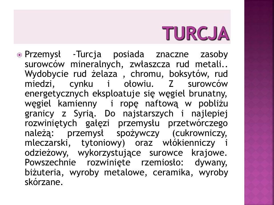 Przemysł -Turcja posiada znaczne zasoby surowców mineralnych, zwłaszcza rud metali..
