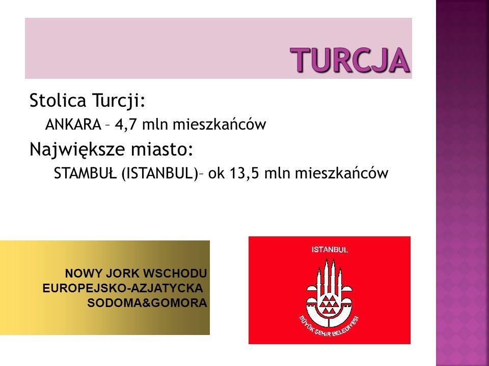 Stolica Turcji: ANKARA – 4,7 mln mieszkańców Największe miasto: STAMBUŁ (ISTANBUL)– ok 13,5 mln mieszkańców NOWY JORK WSCHODU EUROPEJSKO-AZJATYCKA SODOMA&GOMORA