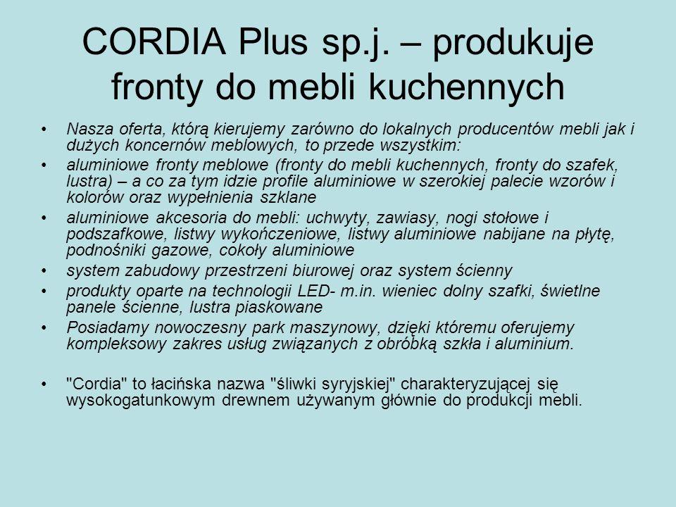 CORDIA Plus sp.j. – produkuje fronty do mebli kuchennych Nasza oferta, którą kierujemy zarówno do lokalnych producentów mebli jak i dużych koncernów m