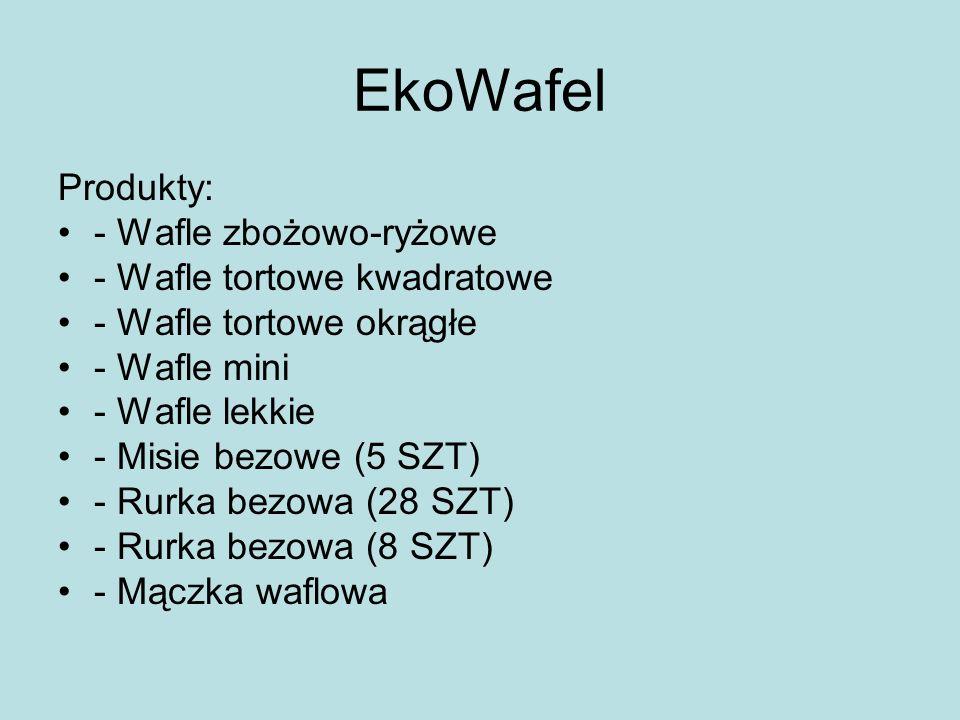 EkoWafel Produkty: - Wafle zbożowo-ryżowe - Wafle tortowe kwadratowe - Wafle tortowe okrągłe - Wafle mini - Wafle lekkie - Misie bezowe (5 SZT) - Rurk
