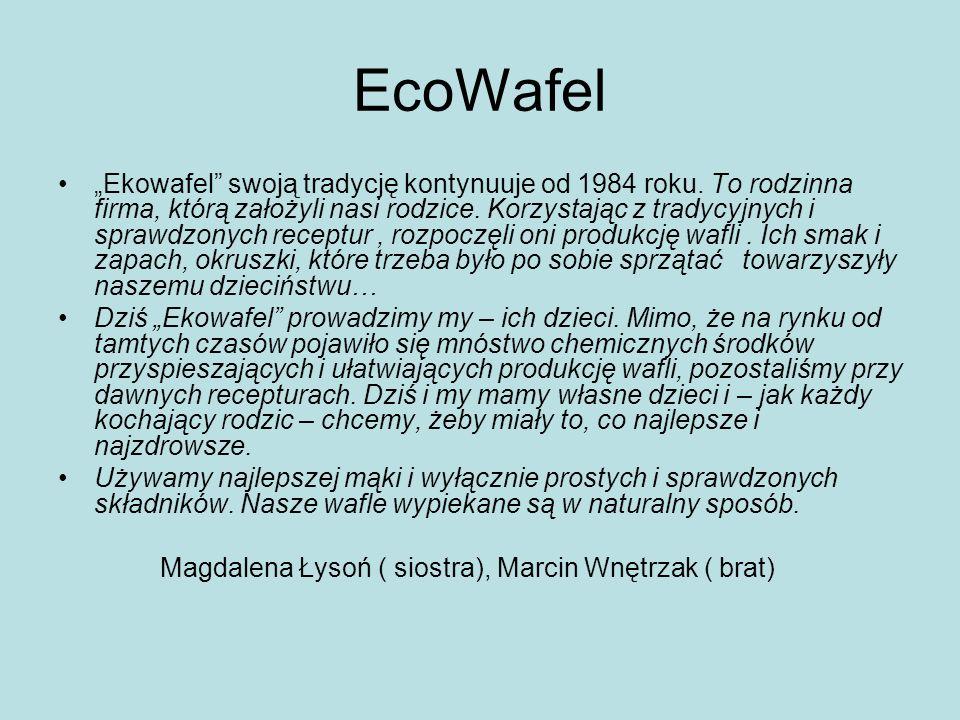 EcoWafel Ekowafel swoją tradycję kontynuuje od 1984 roku. To rodzinna firma, którą założyli nasi rodzice. Korzystając z tradycyjnych i sprawdzonych re
