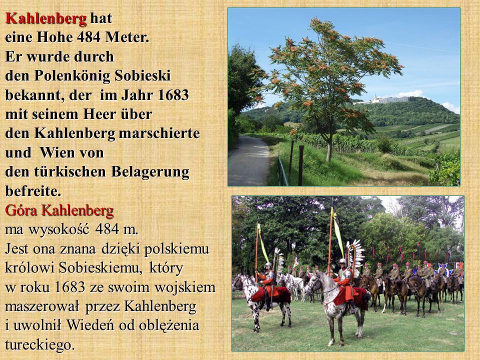 Kahlenberg hat eine Hohe 484 Meter. Er wurde durch den Polenkönig Sobieski bekannt, der im Jahr 1683 mit seinem Heer über den Kahlenberg marschierte u