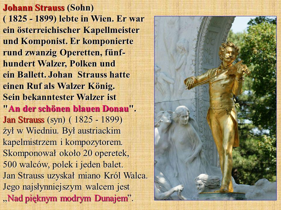 Johann Strauss (Sohn) ( 1825 - 1899) lebte in Wien. Er war ein österreichischer Kapellmeister und Komponist. Er komponierte rund zwanzig Operetten, fü