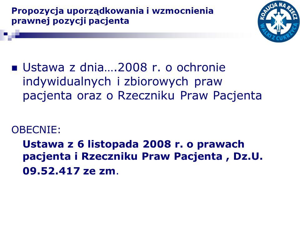 Propozycja uporządkowania i wzmocnienia prawnej pozycji pacjenta Ustawa z dnia….2008 r. o ochronie indywidualnych i zbiorowych praw pacjenta oraz o Rz