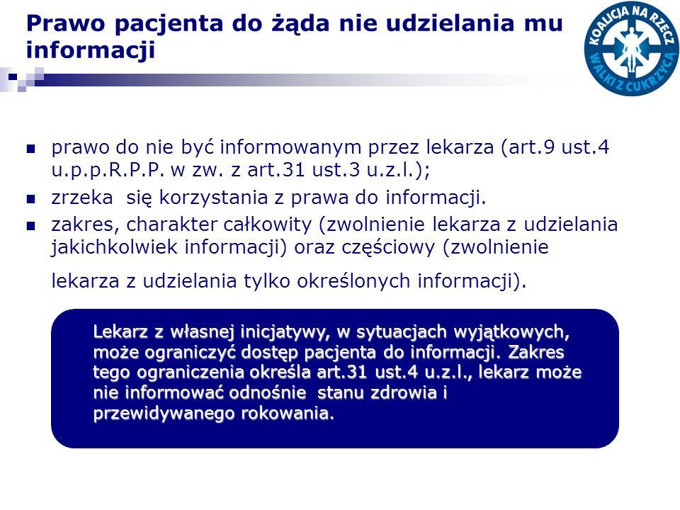 Prawo pacjenta do żąda nie udzielania mu informacji prawo do nie być informowanym przez lekarza (art.9 ust.4 u.p.p.R.P.P. w zw. z art.31 ust.3 u.z.l.)
