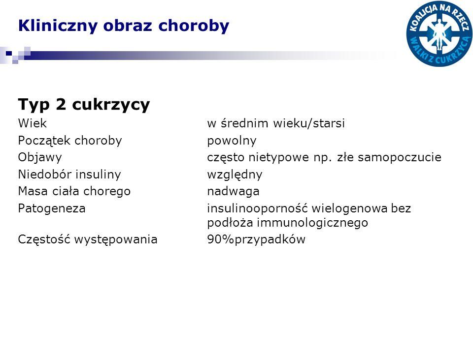 Kliniczny obraz choroby Typ 2 cukrzycy Wiekw średnim wieku/starsi Początek chorobypowolny Objawyczęsto nietypowe np.
