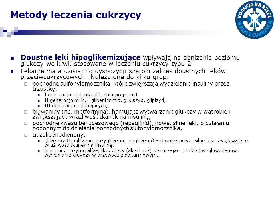 Metody leczenia cukrzycy Doustne leki hipoglikemizujące wpływają na obniżenie poziomu glukozy we krwi, stosowane w leczeniu cukrzycy typu 2. Lekarze m
