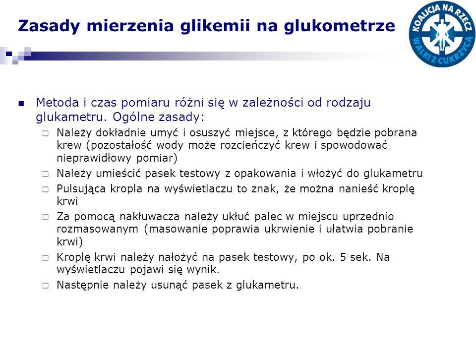 Zasady mierzenia glikemii na glukometrze Metoda i czas pomiaru różni się w zależności od rodzaju glukametru. Ogólne zasady: Należy dokładnie umyć i os
