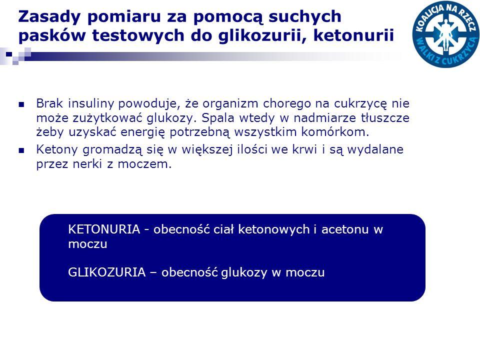 Zasady pomiaru za pomocą suchych pasków testowych do glikozurii, ketonurii Brak insuliny powoduje, że organizm chorego na cukrzycę nie może zużytkować