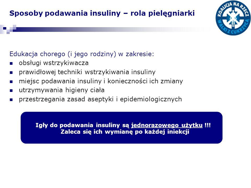 Sposoby podawania insuliny – rola pielęgniarki Edukacja chorego (i jego rodziny) w zakresie: obsług i wstrzykiwacza prawidłow ej techniki wstrzykiwania insuliny miejsc podawania insuliny i konieczności ich zmiany utrzymywania higieny ciała przestrzegania zasad aseptyki i epidemiologicznych Igły do podawania insuliny są jednorazowego użytku !!.